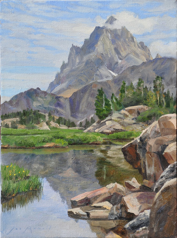 Oil on linen | 24 x 18 inches | Available Notes: Nathaniel Langford led a contingent party of the Hayden Survey of 1872 into Teton Valley on the western side of the Tetons. From Teton Canyon fourteen aspirants left to climb the Grand. This very long approach led them through Alaska Basin and the head of South Cascade Canyon, where they would have seen this rather intimidating profile of the Grand Teton. Along the way members of the party kept dropping out until there were only two left at the end, Langford and Stevenson. Their summit claim was challenged twenty-six years later by Billy Owen when he claimed the first ascent.