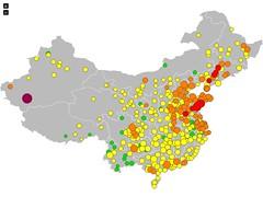 #Luftverschmutzung #China: ⬆ #Xiangyang (229 µg/m³), ⬇ #Yuxi (23 µg/m³). http://pm25.china-reisefuehrer.com