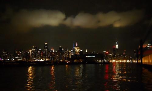 Strange ghostly clouds hover over Midtown Manhattan. New York. October 2011.