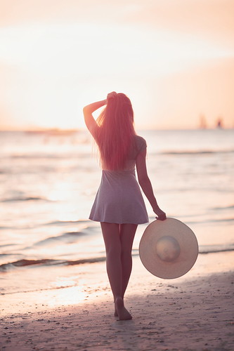travel light sunset sea portrait woman sun sunlight white beach girl beautiful beauty hat canon island model asia dress view body philippines blonde boracay russian whitebeach russiangirl seerule1