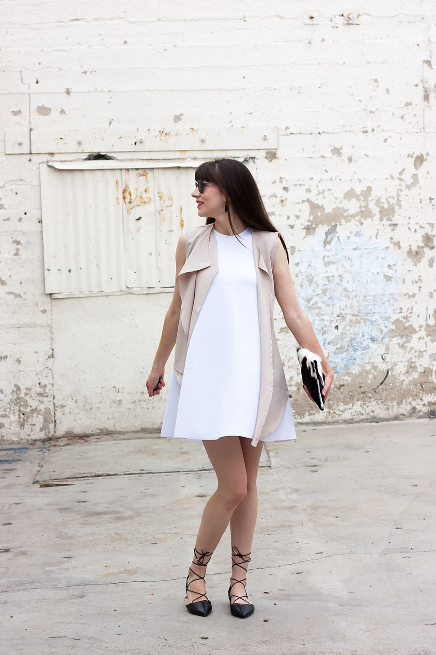 Black Lace Up Flats, Black and White Outfit, White Shift Dress
