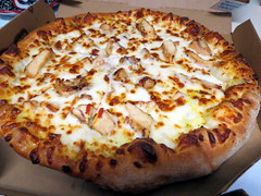 Premium Chicken Pizza With Alfredo Sauce.