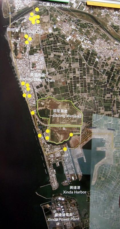 茄萣市區和茄萣濕地空拍圖,點圖可放大。