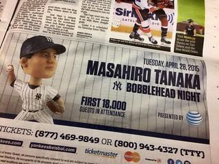 MASAHIRO TANAKA BOBBLEHEAD NIGHT