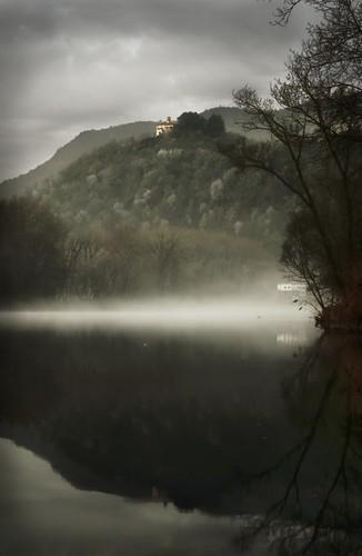 italy mist tree water sunrise river dawn spring nikon italia fiume hill nebbia thegimp sanctuary adda foschia luminositymask airuno nikonflickraward d5100