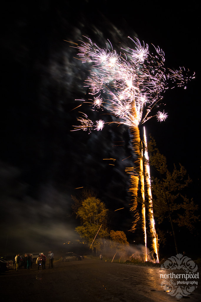 Wedding Fireworks at the Round Lake Hall