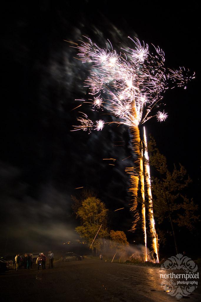 Wedding Fireworks at the Round Lake Hall