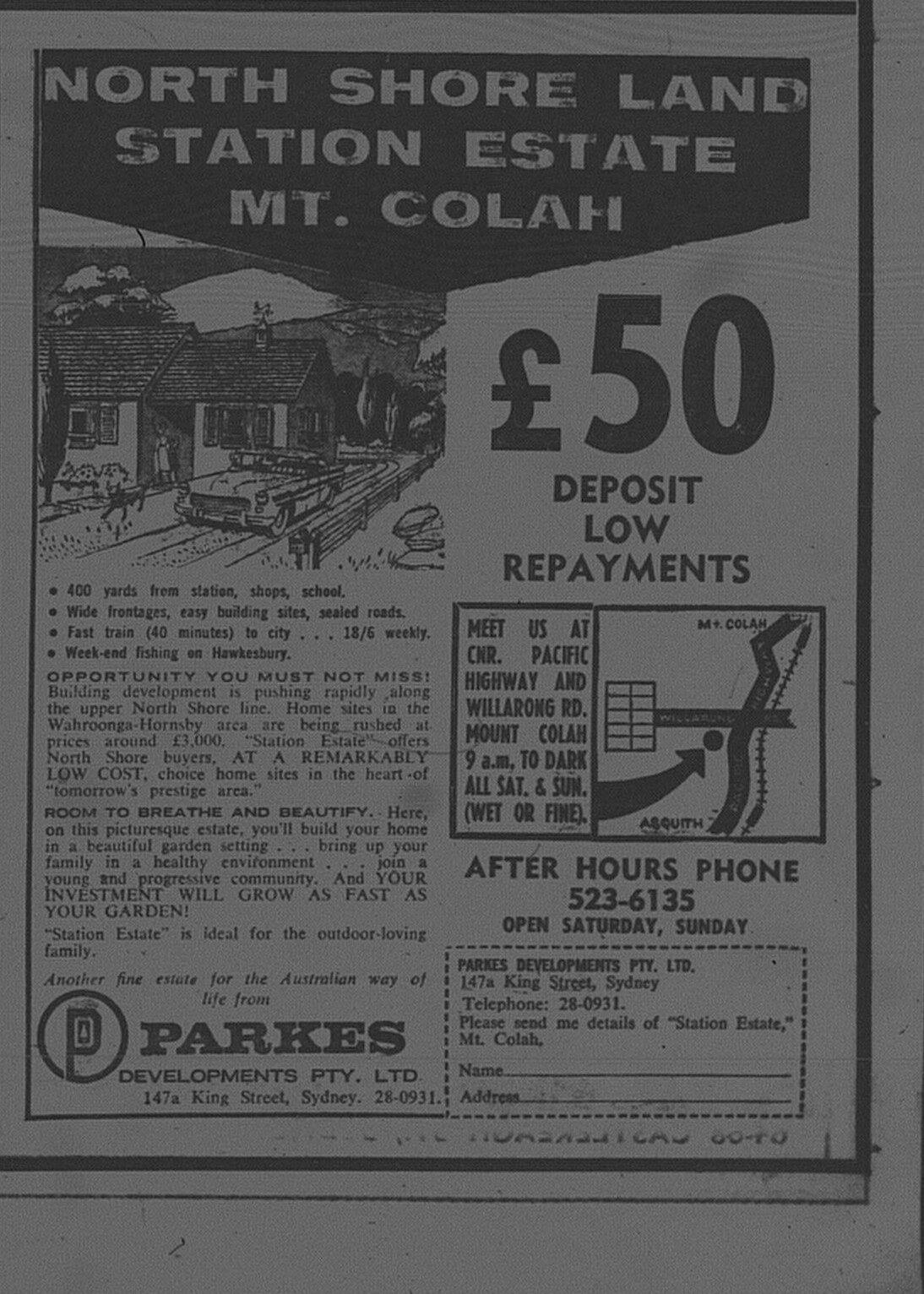 Mt Colah Ad February 12 1966 daily telegraph 43