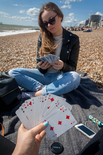 Cards on the beach in Brighton.