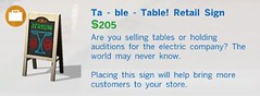 Table Table Retail Sign