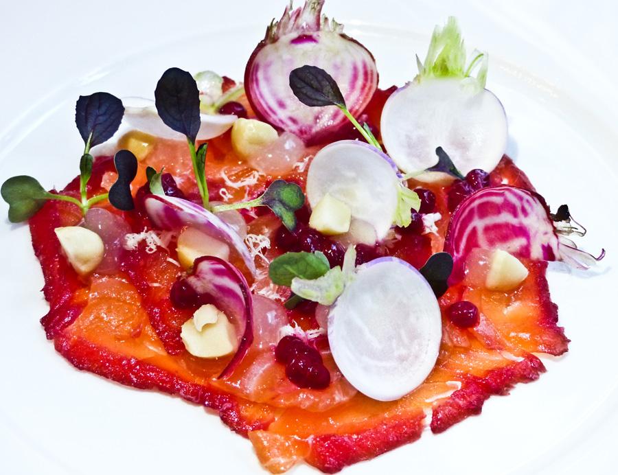 Beetroot-cured-Salmon-starter,-Berners-Tavern,-London