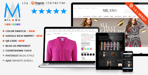 Milano v1.7.8 – Responsive Magento Theme + Blog Extension