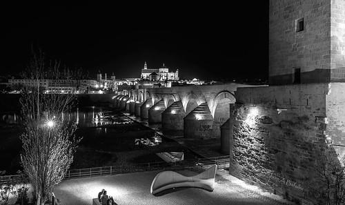 Puente romano con Luna llena