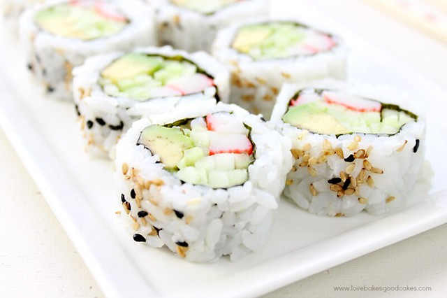 California Roll Recipe on a white plate close up.