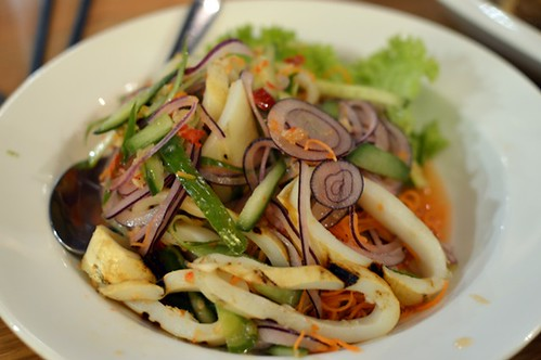 Grilled squid salad in garlic, chilli and lime relish