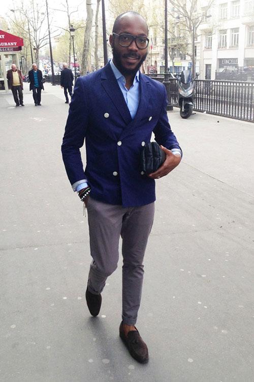 紺ダブルジャケット×グレースラックス×茶タッセルローファー