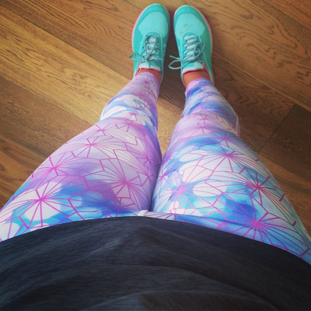 Gratuitous annoying picture of my running gear. I also won a competition to have my design printed on a pair of these tights today.