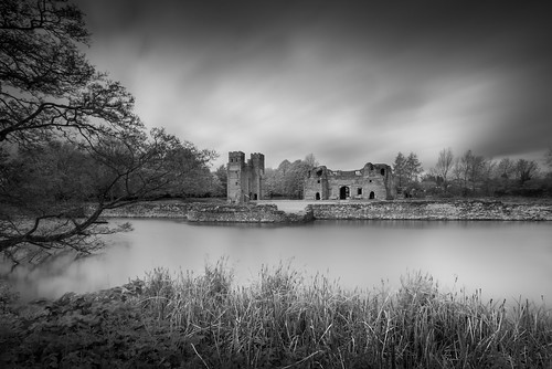 longexposure england white black castle english clouds kirby leicestershire unfinished 14th moat gatehouse muxloe