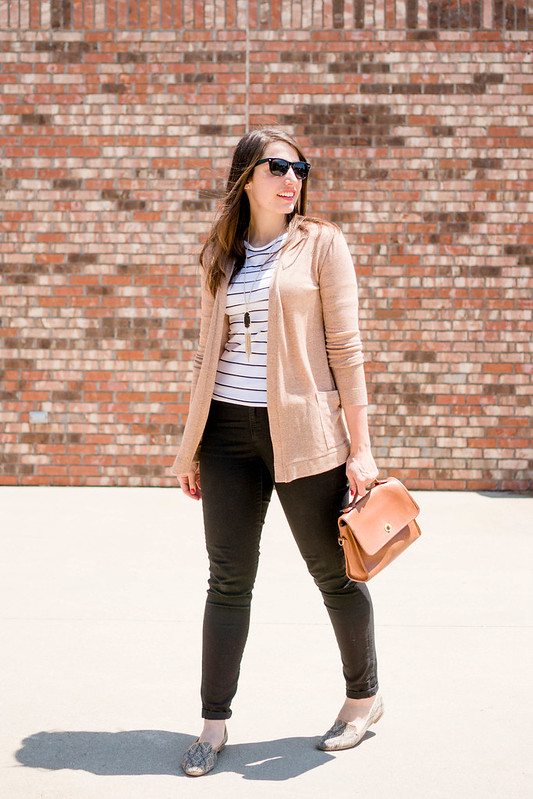 black jeans + white and black stripe tee + tan cardigan; casual Friday | Style On Target