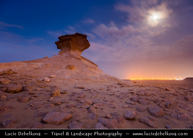 Qatar - Bir Zekreet Desert Rock Full Moon night