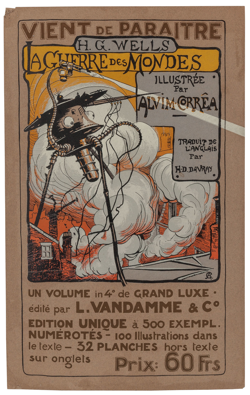HENRIQUE ALVIM CORRÊA -he War of the Worlds, L'Vandamme edition announcement poster, 1906