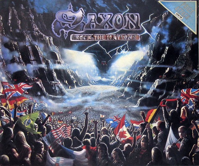 "SAXON ROCK THE NATIONS UK PRESSING NWOBHM 12"" LP"
