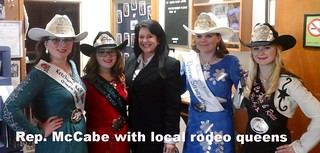 Rep. McCabe with local rodeo queens at the Cattlemen's banquet