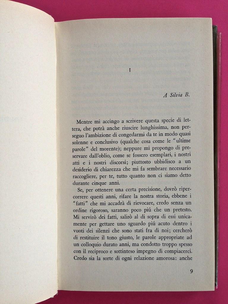 Disamore, di Libero Bigiaretti. Bompiani 1964. [Responsabilità grafica non indicata]. Incipit, a pag. 9 (part.), 1