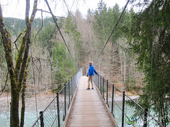 Taking Walk on Suspension Bridge - Chateau d'Oex, Switzerland