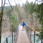 Taking Walk on Suspension Bridge - Chateau d'Oex, Switzerland