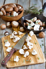 Mushrooms on chopping desk