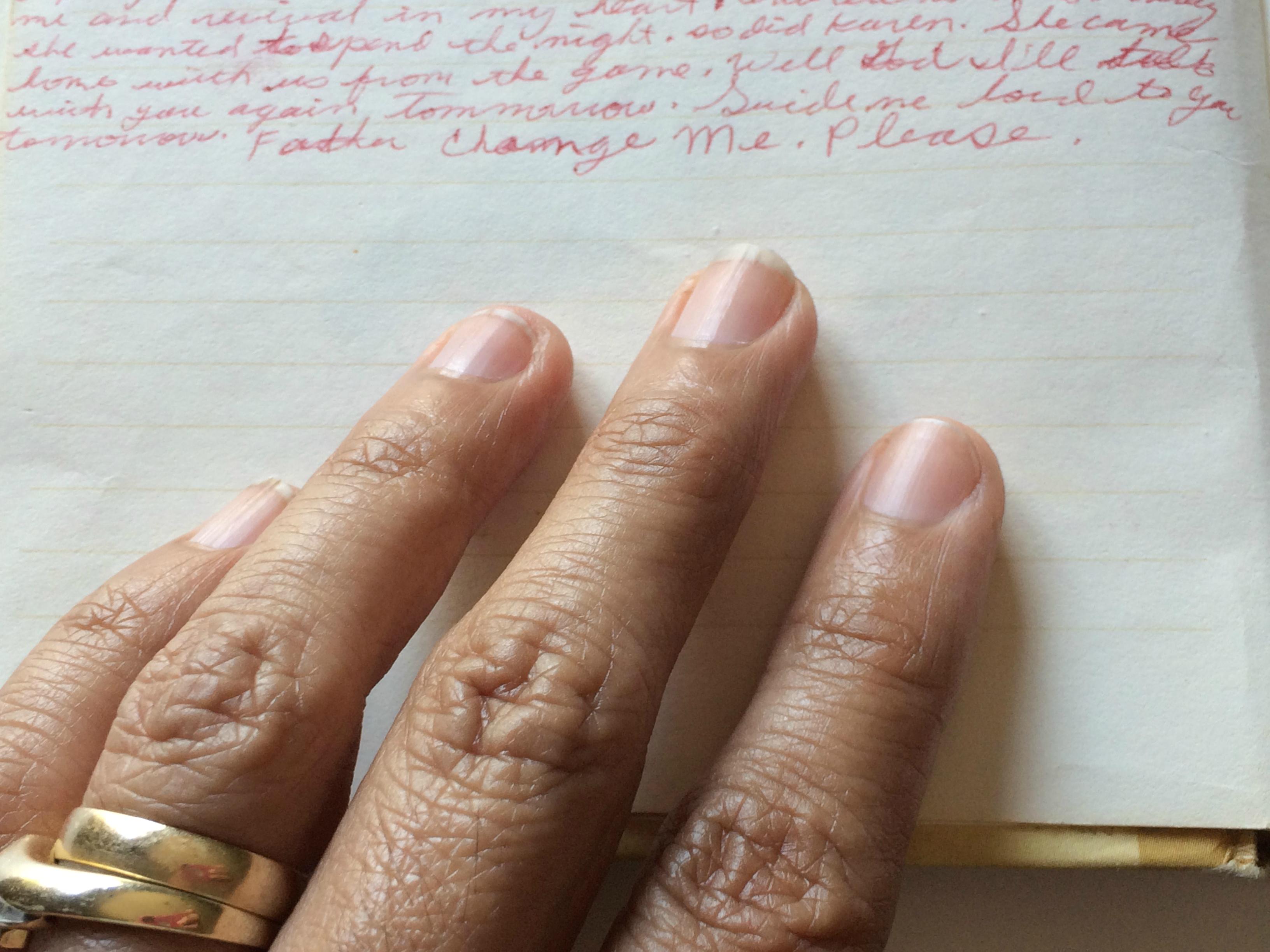 her words my hand