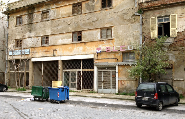 Long vacant buildings in the Xyladika neighborhood of Thessaloniki, Greece