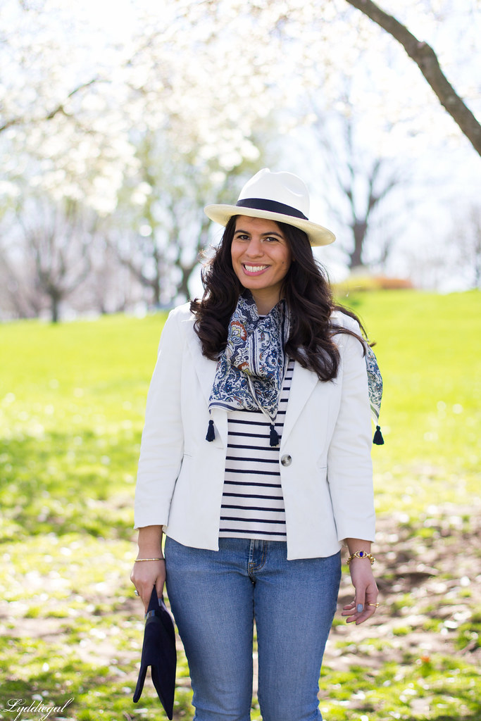 striped shirt, white blazer, jeans, panama hat-5.jpg