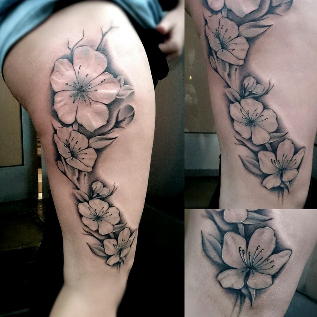 Cherry Blossom Tattoo Black And White: Tattoo // Flower // Cherry Blossom // Leg // Black And