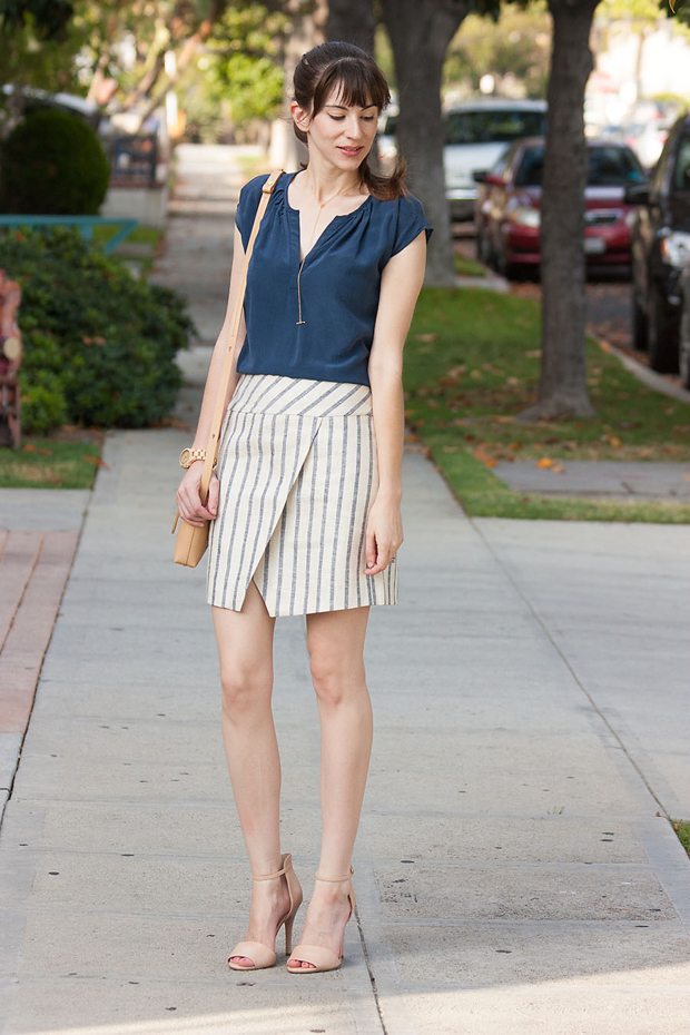 Jord Watch, J.Crew Stripe Line Wrap Skirt, Gorjana Neckalce, Crossbody Bag