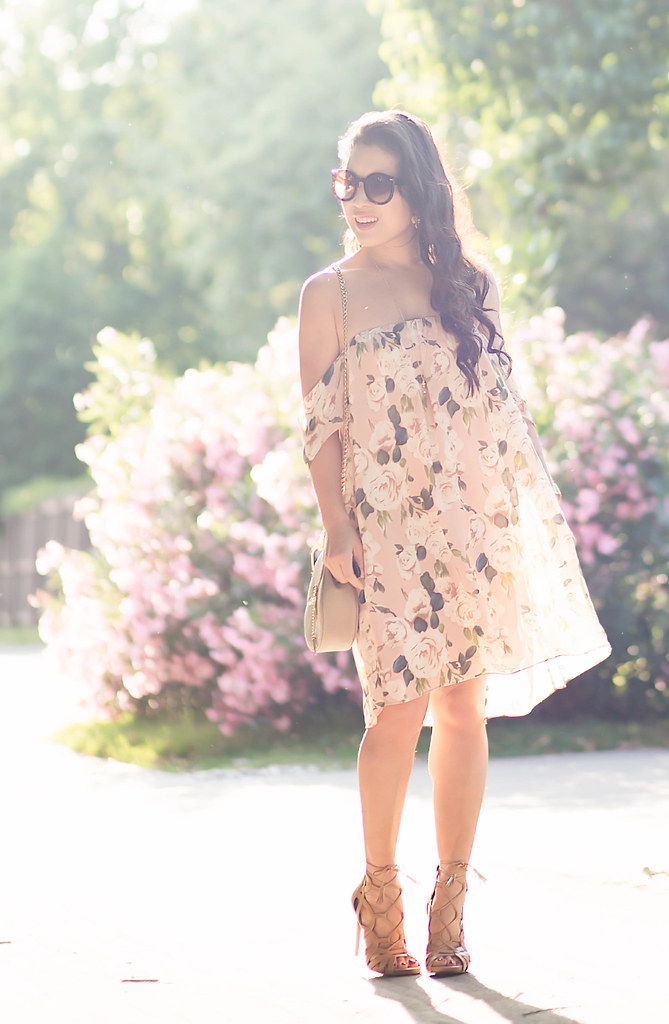 cute & little blog | petite fashion | tobi blush floral off-shoulder dress, nude lace-up gladiator sandal heels, gold pendant necklace, chloe drew motty grey, kate spade pansy earrings | spring outfit