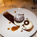 Chocolate cake, rum raisin ice cream with coconut cluster cookie