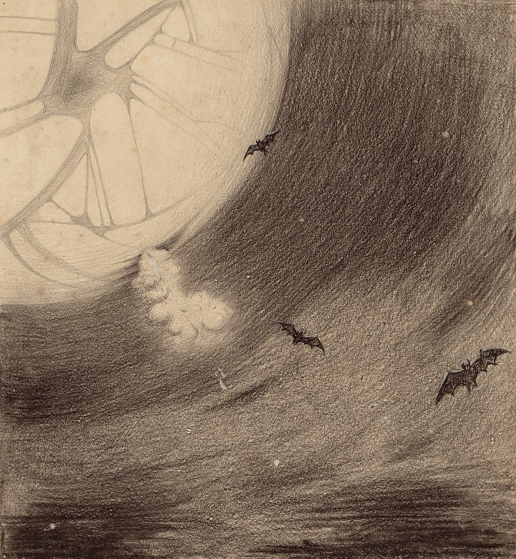"HENRIQUE ALVIM CORRÊA - Martians Head Toward Earth, from The War of the Worlds, Belgium edition, 1906 (illustration is featured in Book I- The Coming of the Martians, Chapter I- ""The Eve of the War,"") 1906"