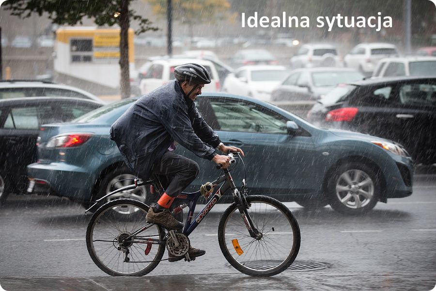 rowerem w deszcz