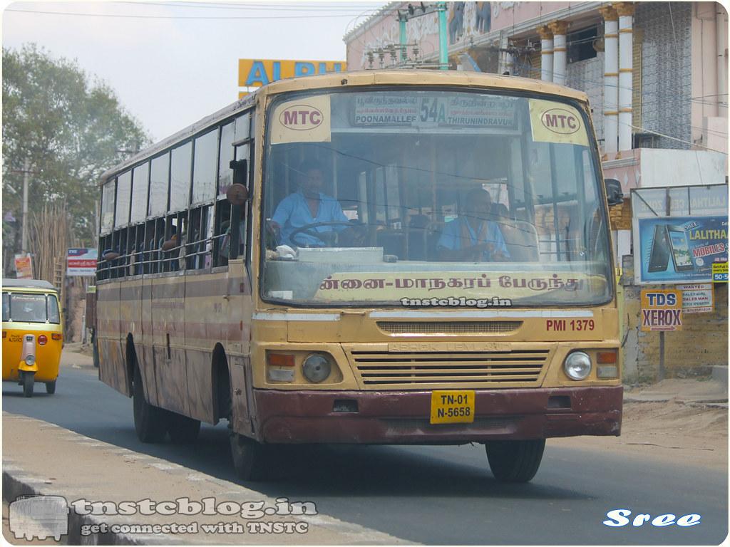 TN-01N-5658 PMI 1379 of Poonmallee Depot Route 54A Poonmallee - Thiruninravur via Thirumazhisai, Vellavedu, Nemam, Puthuchatiram, Periyakottambedu.