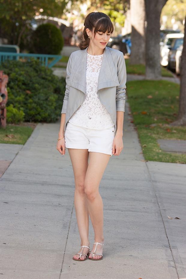 Grey Leather Jacket, White Lace Tee, White Shorts