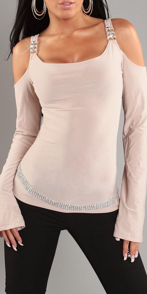 neu langarm top shirt schulterfrei rundhals strass 34 36. Black Bedroom Furniture Sets. Home Design Ideas