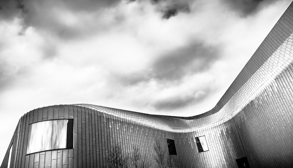 Riverside museum glasgow scotland black and white architecture photography
