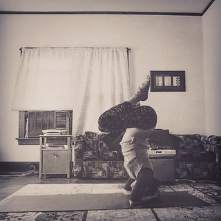 April 21, wild card! I chose headstand because it's something I can do somedays. I could have hung out at this stage for a long time but I could only straighten my legs for a couple of seconds today. My falling was super graceful and controlled though, I