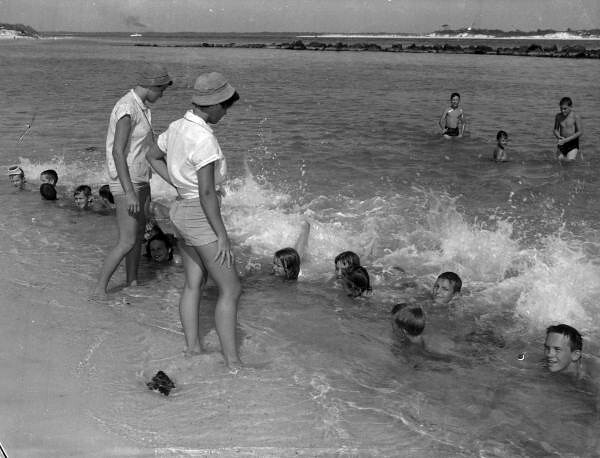 Campers taking swimming lessons at St. Andrews State Park - Panama City