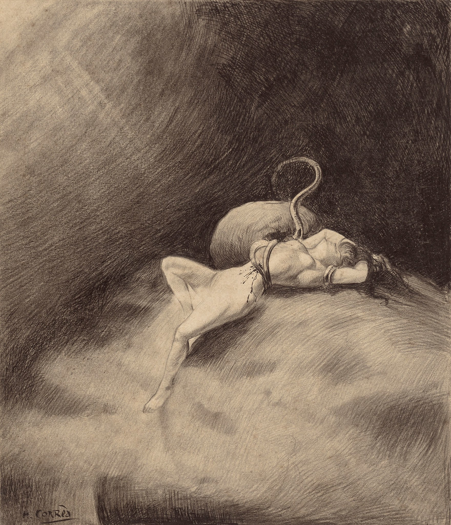 "HENRIQUE ALVIM CORRÊA - Martian Gets the Girl, from The War of the Worlds, Belgium edition, 1906 (illustration from Book I- The Coming of the Martians, Chapter XVII- ""The ""Thunder Child"","")"