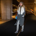 FW2-15  63w long grey coat fur collar mulit color purse knit cap