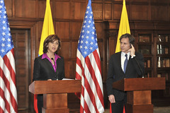 Deputy Secretary of State Tony Blinken and Colombian Foreign Minister Maria Holguin speak to the press after the conclusion of a series of high level dialogues in Bogota, Colombia on April 27, 2015. [State Department photo/Public Domain.]