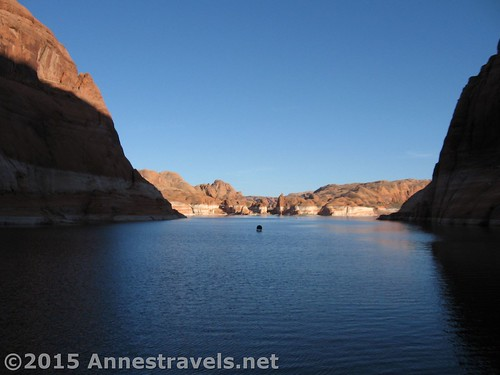 From the beach of Lake Powell at the bottom of Hole in the Rock. You can see the high water mark high above the water. Glen Canyon National Recreation Area, Utah